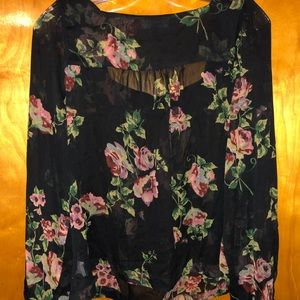 Jessica Simpson Tops - Jessica Simpson Black Floral Blouse